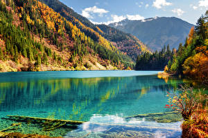 Фотографии Цзючжайгоу парк Китай Осень Парки Озеро Гора Леса Пейзаж Природа