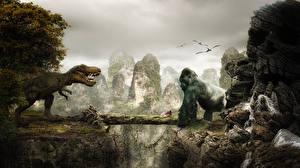 Фото Кинг Конг Динозавры Обезьяны