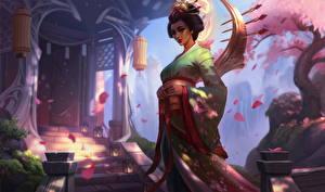 Фотографии League of Legends Кимоно Sakura Karma компьютерная игра Девушки Фэнтези