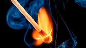 Картинки Спички Огонь Макро Крупным планом Дым
