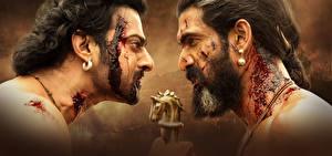 Фотографии Мужчины Вблизи Бахубали: Рождение легенды 2 Борода Кровь Prabhas, Rana Daggubati Кино