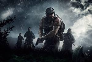Картинка Мужчины Пистолеты Дождь Ghost Recon Wildlands Tom Clancy Кепка