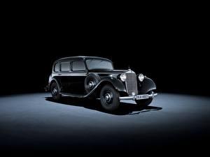 Обои Mercedes-Benz Ретро Серый фон Черный Металлик 1937-42 320 Pullman Limousine Машины
