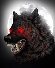 Обои Чудовище Клыки Волк оборотень Злость Ночные Луна