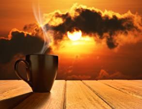 Фотографии Утро Чашка Пар Солнце Природа