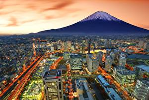 Картинка Фудзияма Дома Вечер Япония Вулкан Yokohama Города