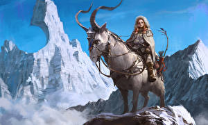 Картинка Горы Воители Волшебные животные Рога Девушки