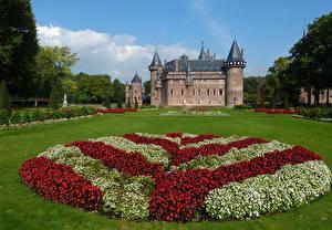 Фотографии Нидерланды Замки Бегония Газон De Haar Castle Города