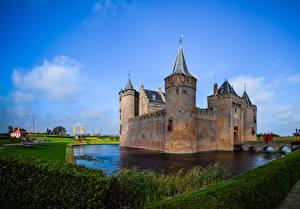 Фотографии Нидерланды Замки Пруд Muiden Castle Города