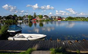 Фото Нидерланды Дома Речка Причалы Утки Лодки De Hoef Города