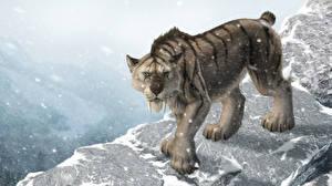 Фотографии Рисованные Древние животные Клыки Снежинки Machairodontinae Животные