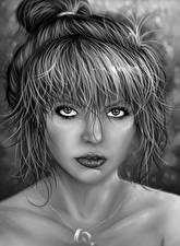 Фотография Рисованные Черно белое Волосы Смотрит Голова Девушки