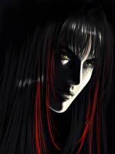 Обои Рисованные Лицо Черный фон Волосы Смотрит Девушки