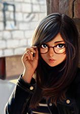 Картинка Рисованные Очки Взгляд Брюнетка Красивые Девушки