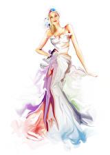 Фотография Рисованные Белый фон Платья молодые женщины
