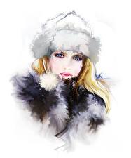 Фото Рисованные Шапки Блондинка Смотрит Белый фон Девушки