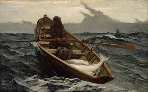 Фотографии Картина Лодки Море Winslow Homer, The Fog Warning