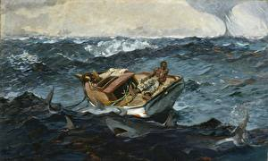 Фотография Живопись Лодки Акулы Море Негр Winslow Homer, The Gulf Stream