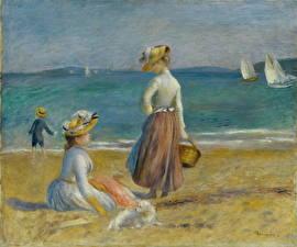 Картинки Картина Берег Auguste Renoir, Figures on the Beach