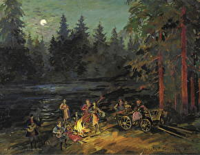 Картинка Живопись Костер Ночные Constantin Korovin, Gypsies by the River, Yaroslavl Gubernia Province