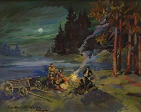 Фотография Живопись Костры Ночные Constantin Korovin, The Campfire