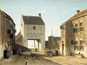 Фотография Картина Здания Jan Weissenbruch, A Town Gate in Leerdam