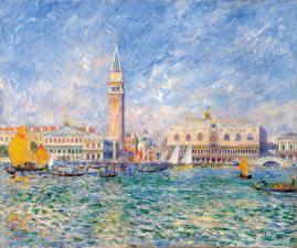 Фотография Картина Венеция Водный канал Pierre Auguste Renoir, The Doges' Palace, Venice