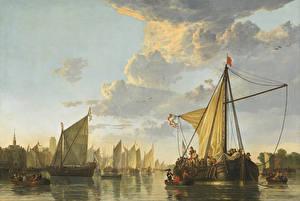 Фотография Живопись Корабли Парусные Aelbert Cuyp, The Maas at Dordrecht