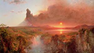 Фотографии Живопись Водопады Рассветы и закаты Пейзаж Вулкан Frederic Edwin Church, Cotopaxi