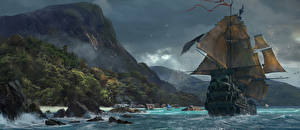 Картинка Пираты Парусные Корабли Skull and Bones Игры