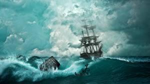 Фотография Пираты Корабли Парусные Бочка Фэнтези