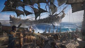 Картинки Пираты Корабли Парусные Skull and Bones 3D_Графика