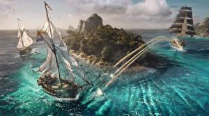 Фото Пираты Корабли Парусные Skull and Bones Остров Выстрел