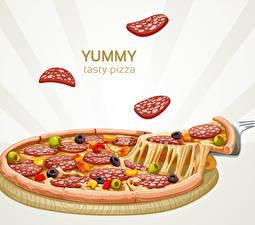 Обои Пицца Колбаса Часть yummy tasty pizza Пища