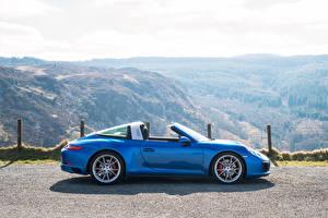 Картинки Порше Голубой Сбоку Кабриолет Металлик 2016 911 Targa 4S Авто
