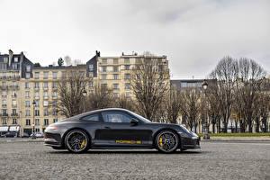 Картинка Порше Черный Металлик Сбоку 2016 Porsche 911 R  Tribute to Steve McQueen Авто