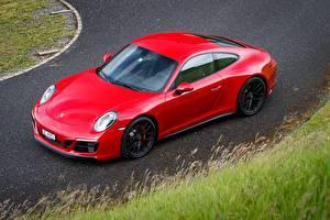 Картинки Porsche Красный Металлик 2017 911 Carrera 4 GTS Coupe Worldwide Авто