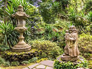 Обои Португалия Сады Скульптуры Кусты Monte Palace Tropical Garden Funchal Madeira Природа