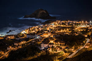 Фотографии Португалия Дома Ночь Porto Moniz Madeira Islands Города