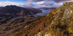 Картинки Шотландия Побережье Речка Осенние Холмы Trossachs National Park