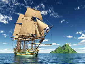 Фотографии Корабли Парусные Море Небо 3D Графика