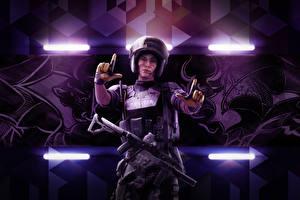 Картинка Солдаты Автоматы Tom Clancy's Rainbow Six: Siege Осада Mira Игры Девушки