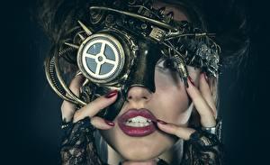 Фото Стимпанк Лицо Механизмы молодая женщина
