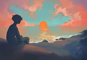 Фото Рассветы и закаты Мальчики Солнце