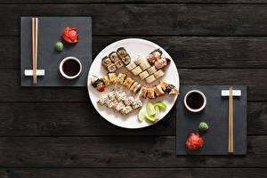 Картинки Суси Рыба Палочки для еды Тарелка Пища