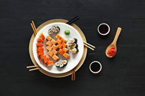 Картинки Суши Рыба Тарелка Пища