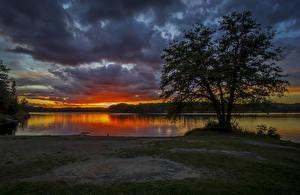 Картинка Швеция Рассветы и закаты Речка Небо Облака Деревья Природа