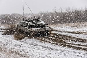 Фотографии Танки Леопард 2 Снег Немецкий Снежинки Армия