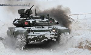 Фотографии Танки Т-90 Снег Российские Армия