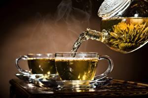 Фотография Чай Чайник Блюдце Чашка Пар Продукты питания